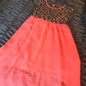 Leopard dress L 10 high low neon cut out back WOW